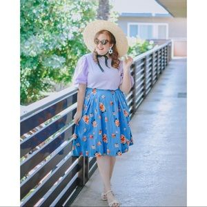 Modcloth Emily and Fin Blue Floral Skirt